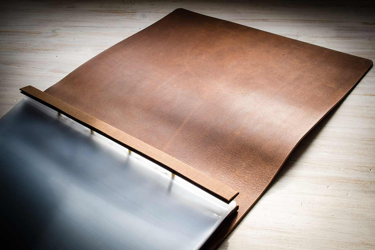 H&Co leather screw post display portfolio with optional natural no inner cover