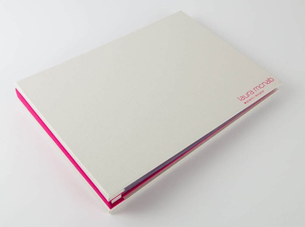 A4 Landscape Graphic Designers Presentation Portfolio in Pink and White