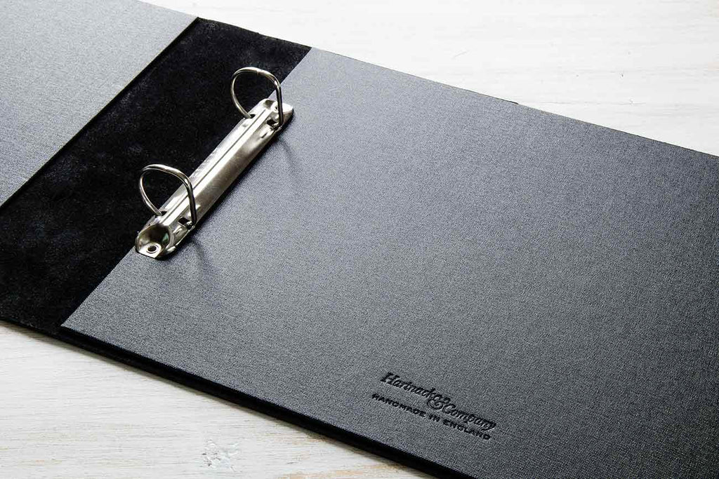 Visitors book with 2.5cm 2 ring binder mechanism and black buckram inner cover