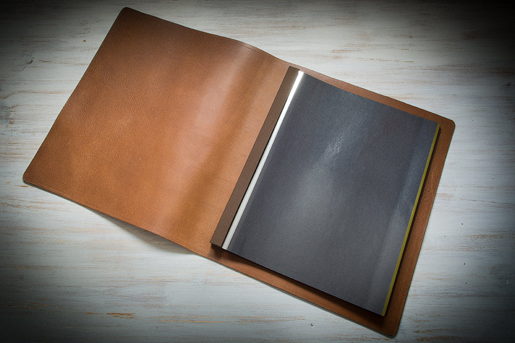 leather A3 portrait portfolio with bare inner cover