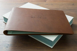 leather wedding album and clamshell presentation and storage box