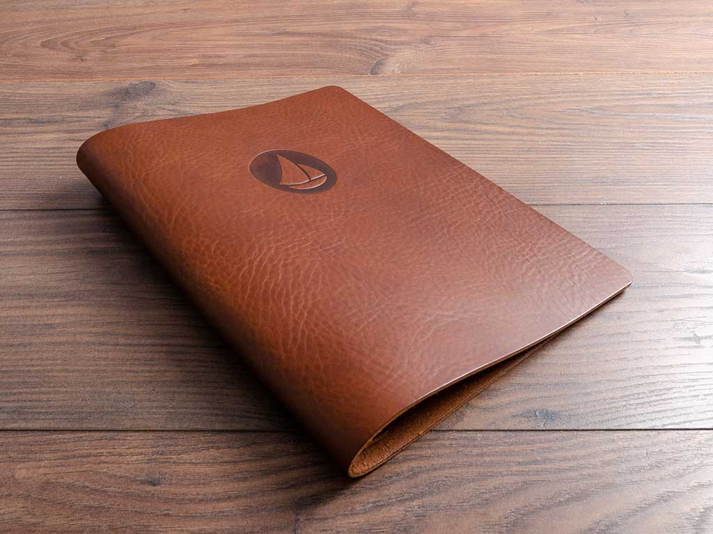 personalised a4 brown leather menu