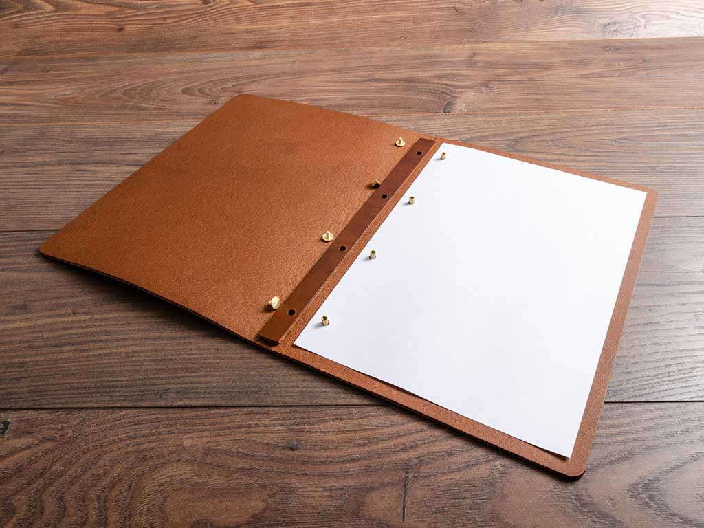 Luxury leather menu cover with simple screw post mechanism