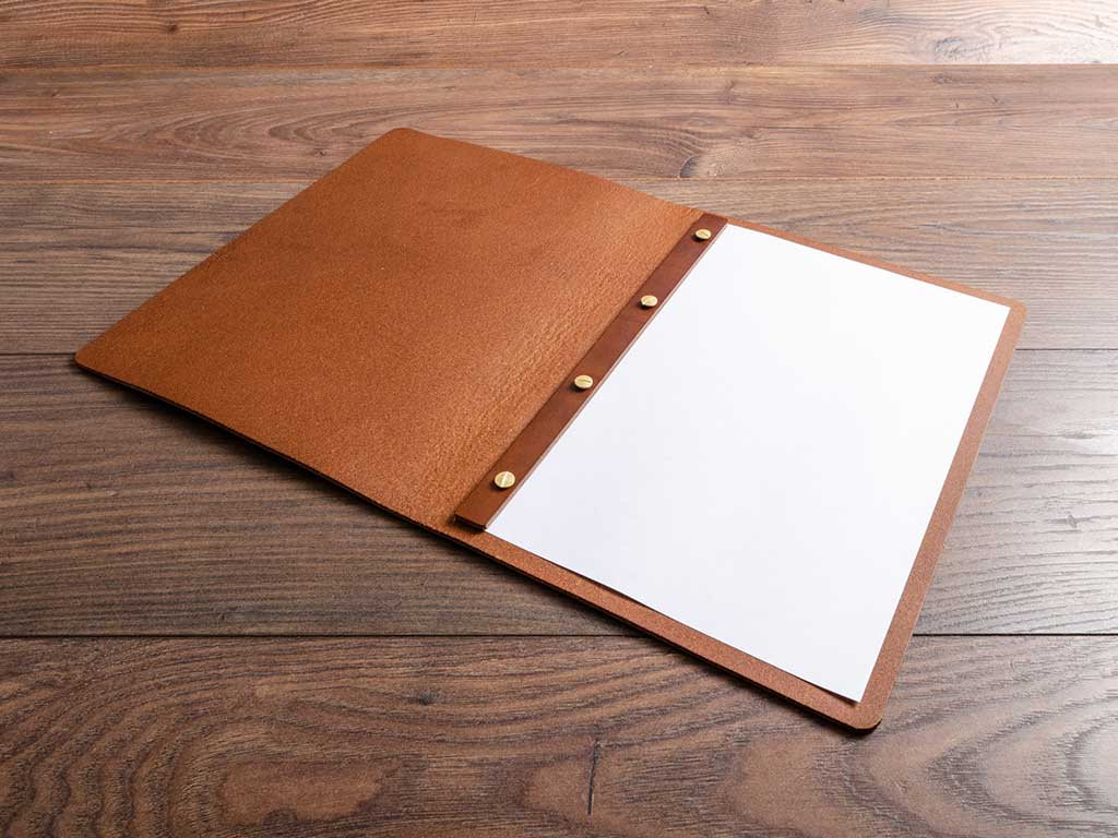 brown genuine leather a4 menu with screw post mechanism