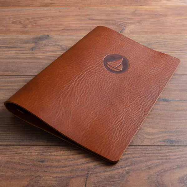 Personalised leather menu cover