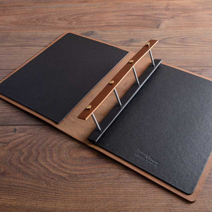 leather portfolio with screw post binders