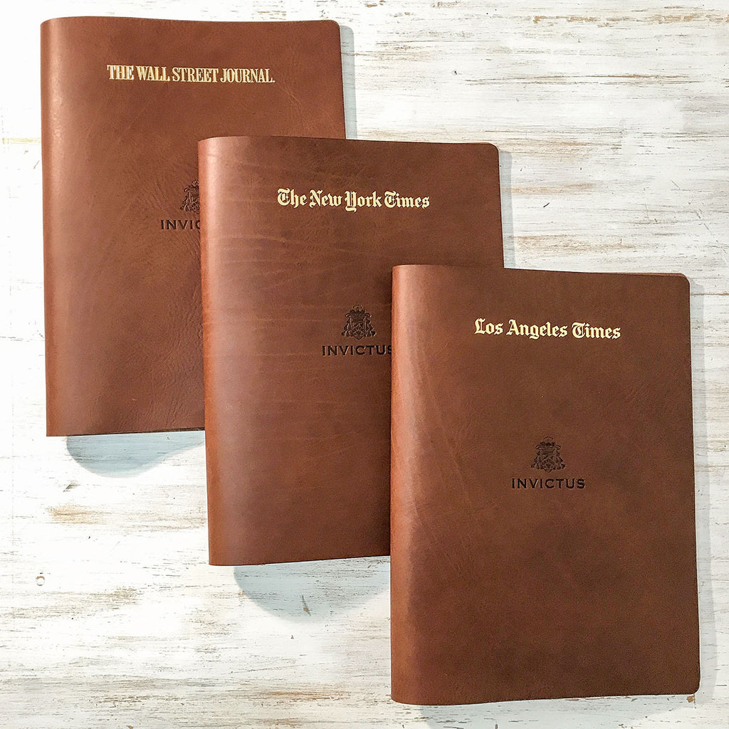 A3 and 11 x 17 sized leather folders to take printed copies of newspapers for super yacht SY Invictus.