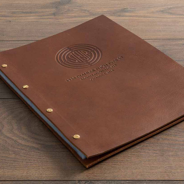 leather menu cover exposed screw post