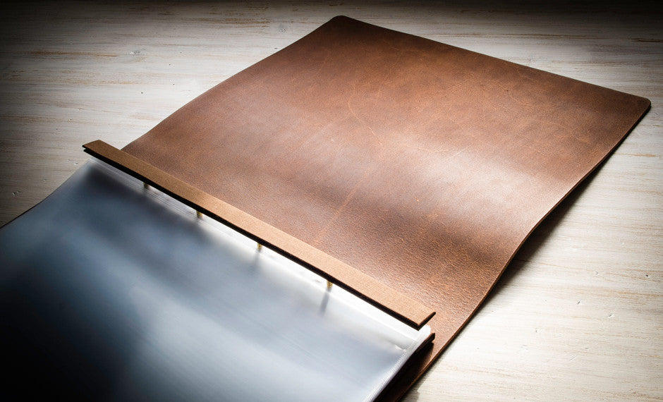 Brown Leather Portfolio Screw Post Binder With Natural Inside Cover