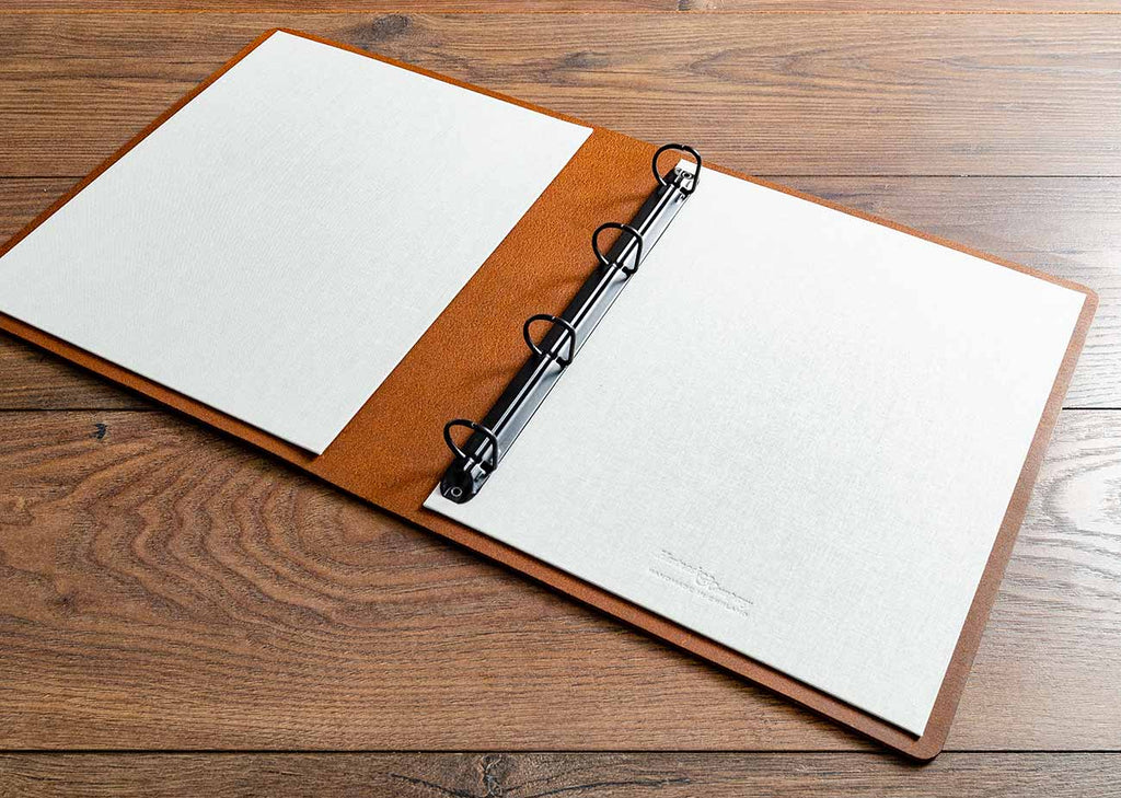 Leather ring binder for vehicle documents with 2.5cm mechanism and light linen inner cover