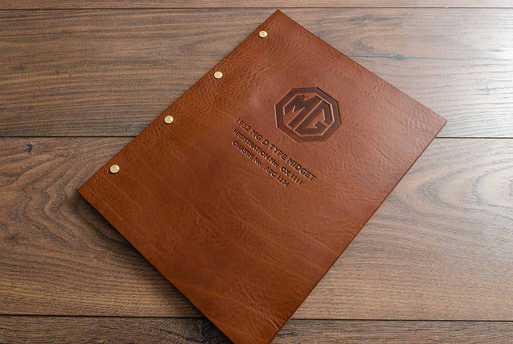 Brown leather personalised MG motor vehicle service history and document folder