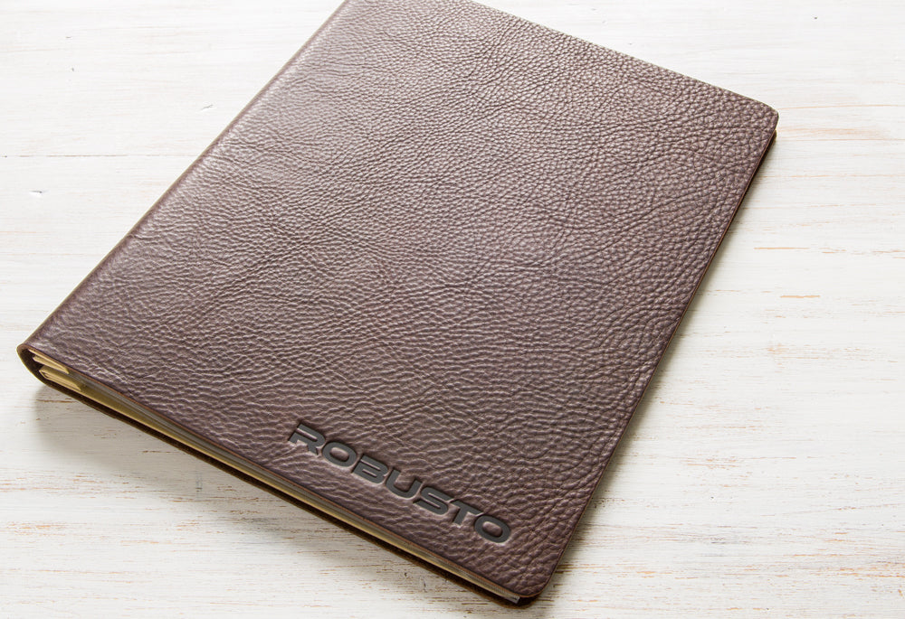 2.5mm dark brown leather A4 menu cover with blind debossed logo