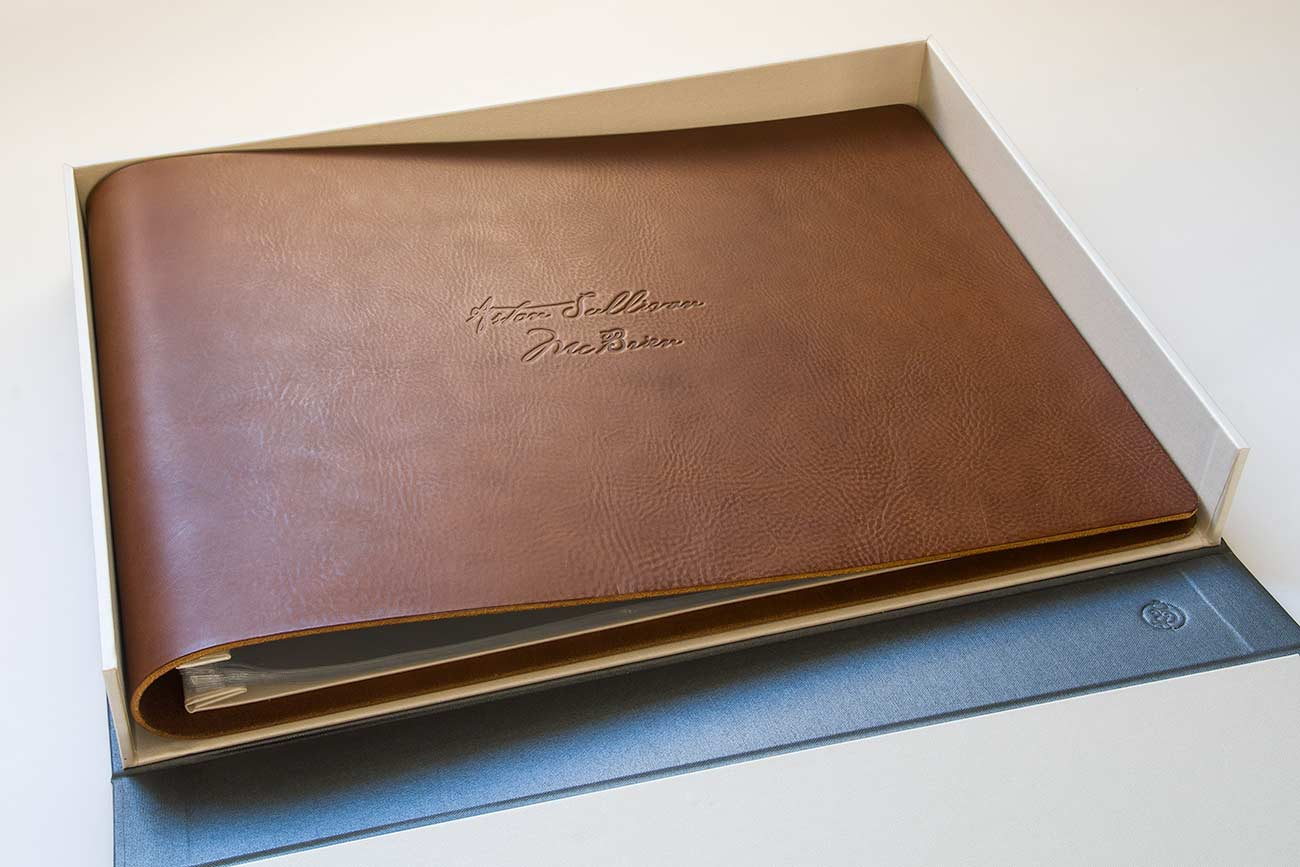 custom child leather A3 scrapbook kept in a clamshell box