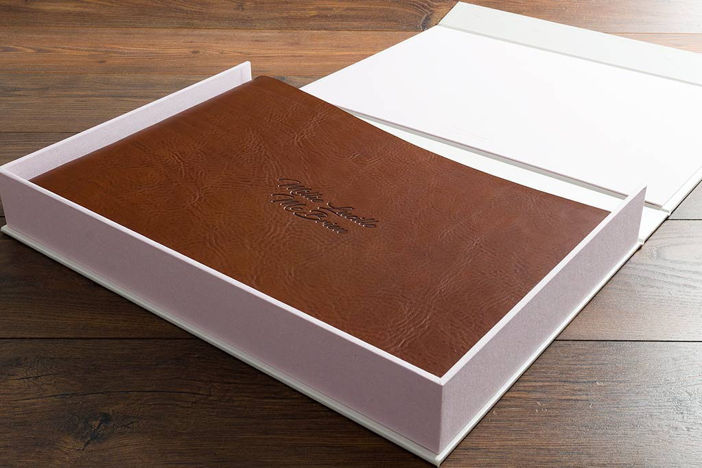 A3 personalised leather children's scrapbook album in clamshell keepsake box