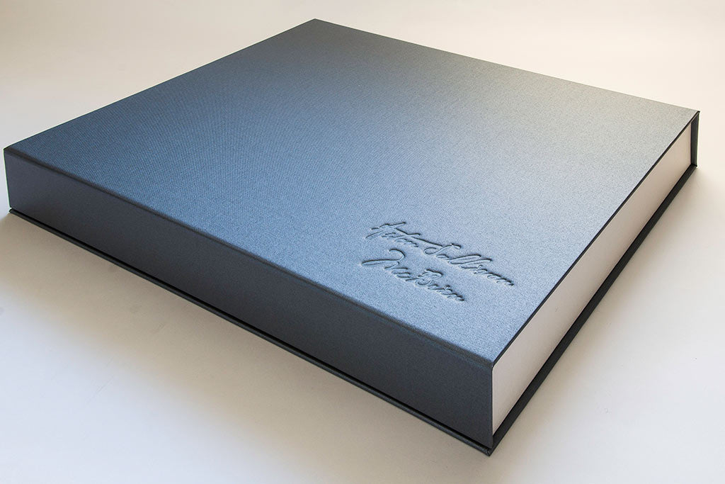A3 half clamshell box in Pewter buckram with blind debossed personalisation