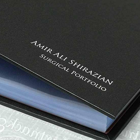 foiling emboss on a personalised surgical portfolio