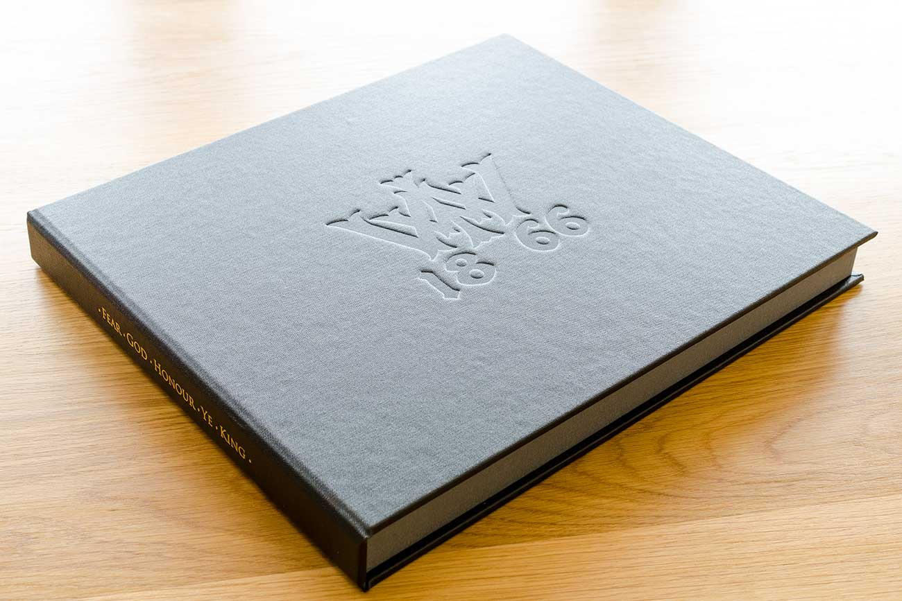 clamshell book box with personalised embossed cover and foiled spine