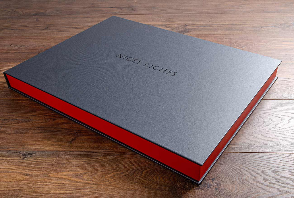 A3 landscape portfolio box in Pewter buckram, tangerine buckram and grey foil personalisation