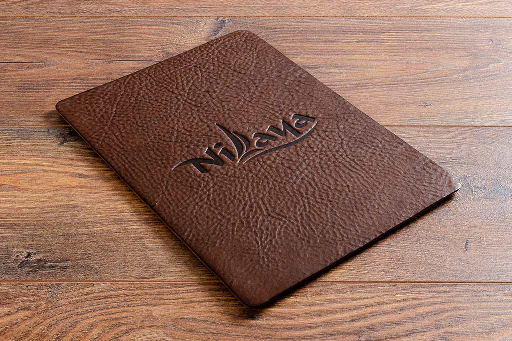 Personalised A4 brown leather board in 2.5mm thick dark brown leather