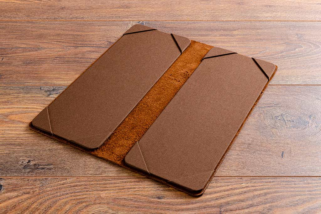 Leather cocktail menu half vertical A4 size in 2.5mm brown leather and brown book cloth menu holders