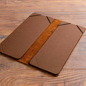 A5 Leather cocktail menu boards open in brown leather
