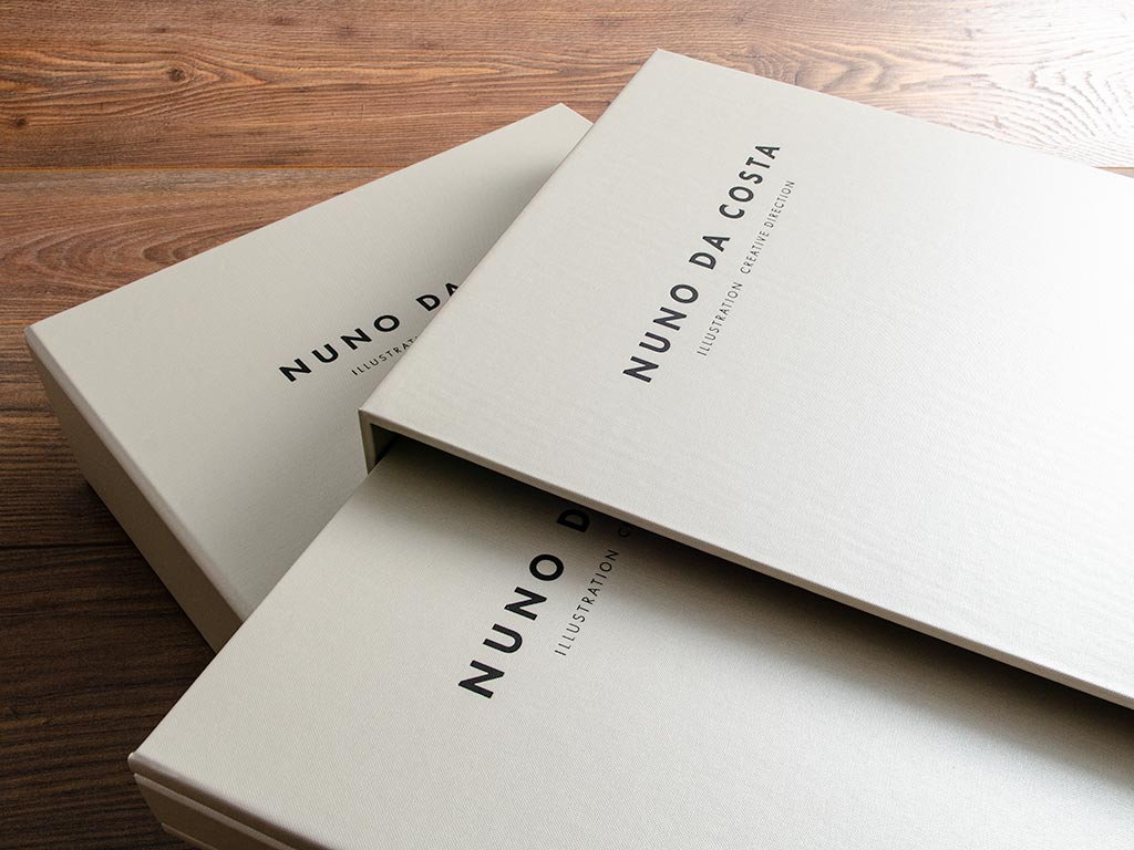 Portfolio and slipcase with black foil personalisation