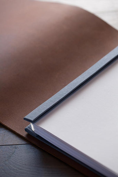 leather print portfolio with printed images