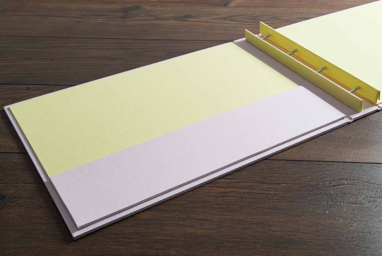 A3 Screw Post Portfolio Book in Conwy White and Citrus Book Cloth