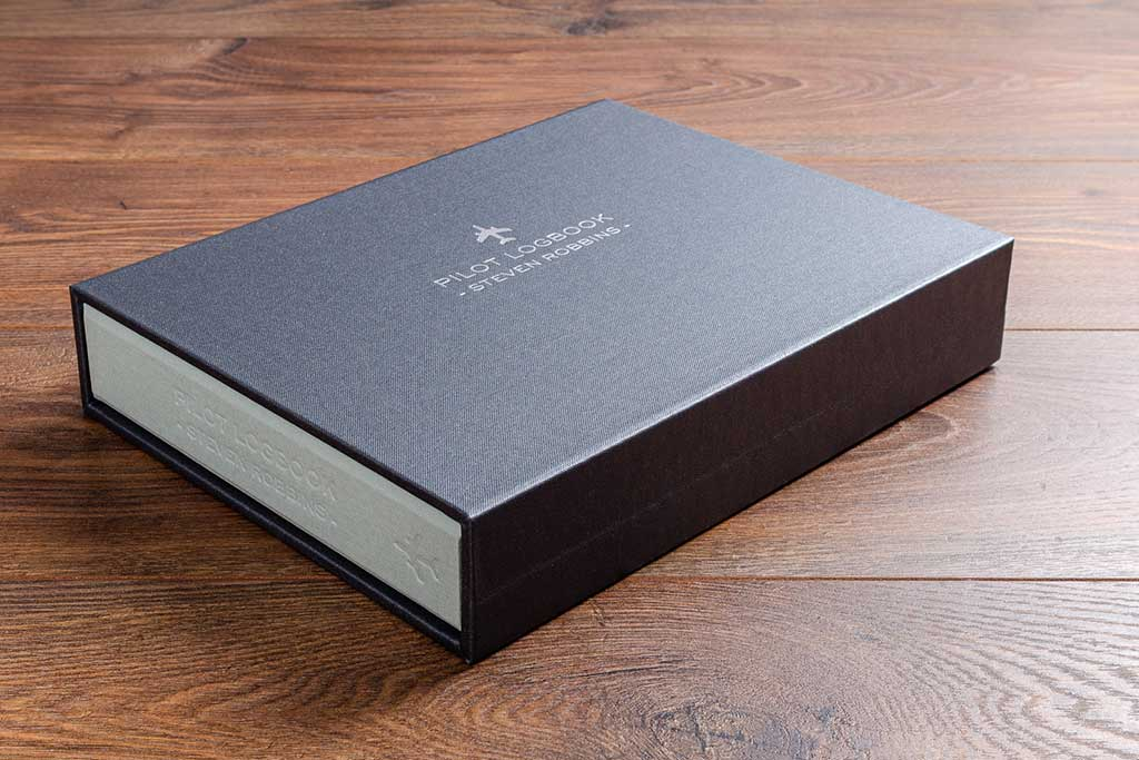 custom made pilot logbook in a personalised slipcase