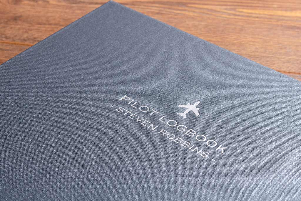 foil embossed personalisation on logbook slipcase cover