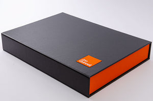 A3 portfolio box in charcoal and solo orange with personalised plaque