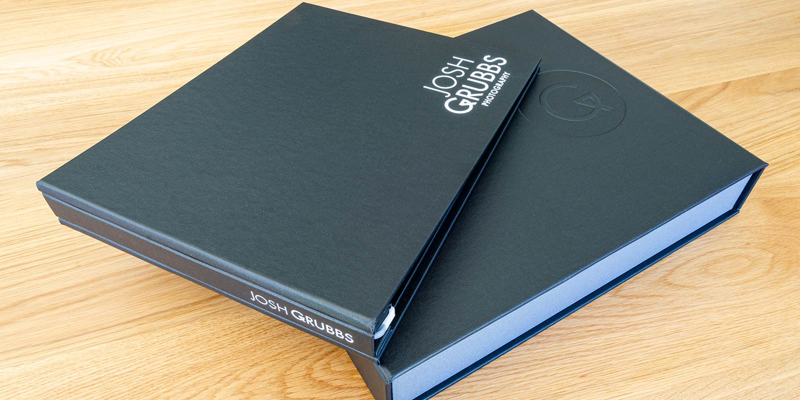 photographers portfolio book and portfolio box by H&Co with embossed personalisation