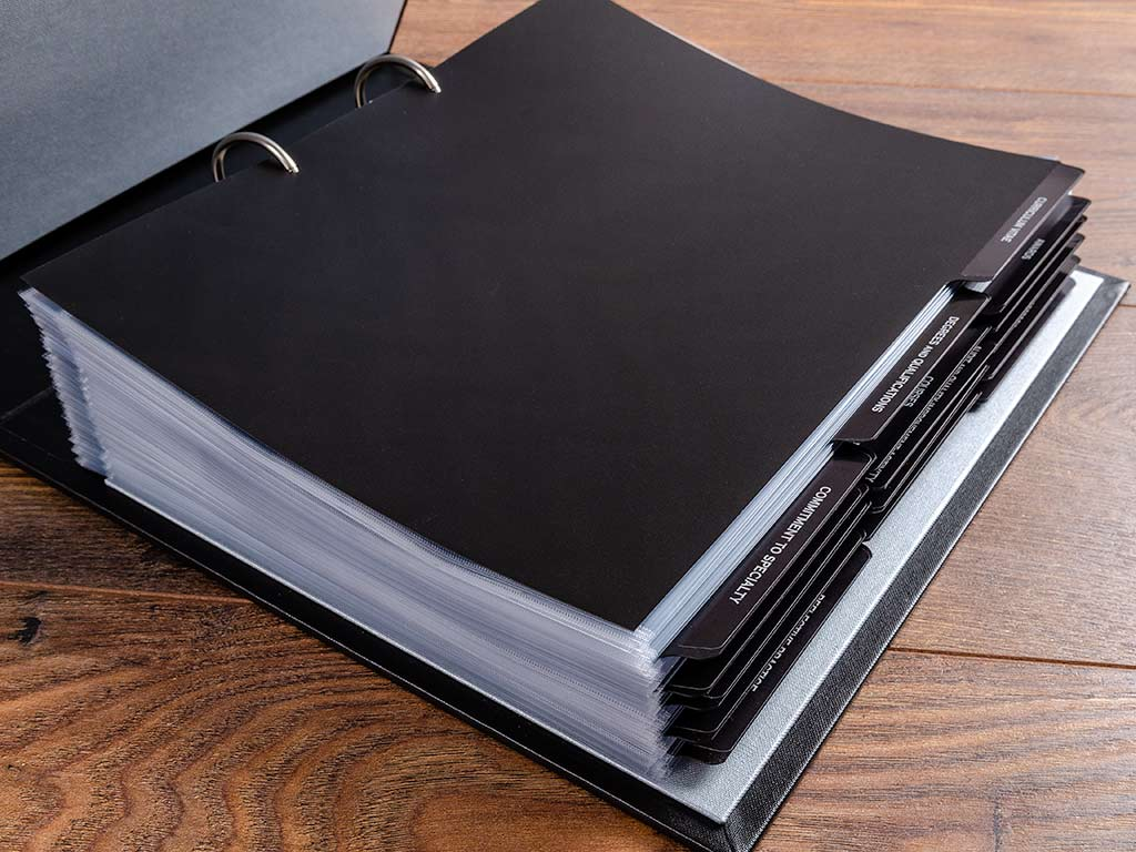 medical portfolio with dividers