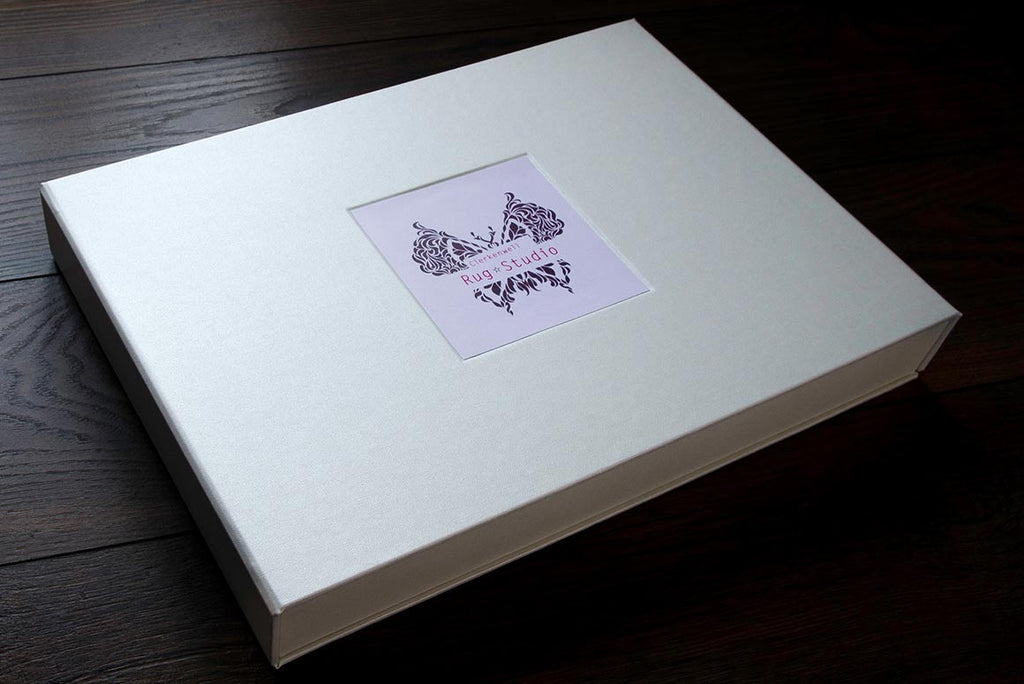 custom presentation box with card placed in the cover