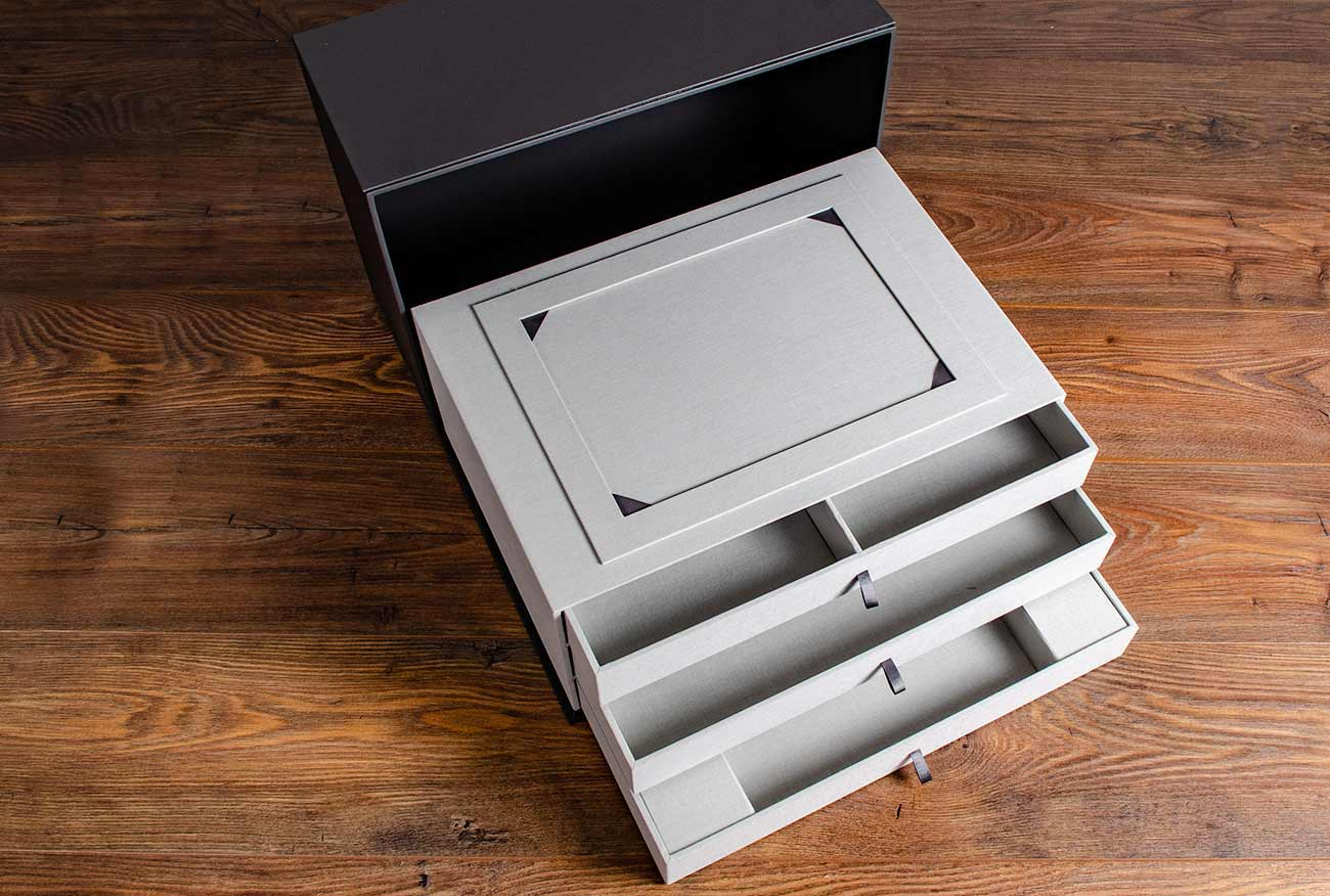 Custom made presentation box with drawers