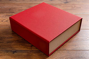 red leather portfolio box