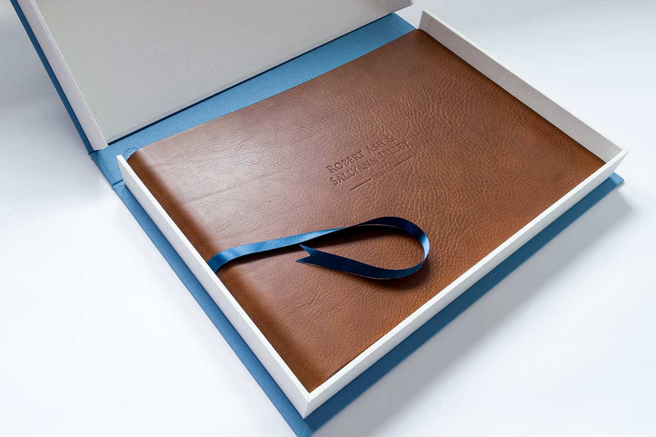 Leather wedding album inside clamshell storage archive box