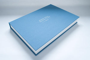 wedding album presentation calmshell box in blue with personalised cover