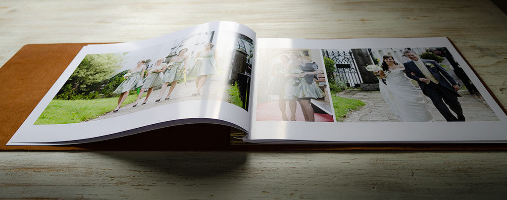 printed leather wedding album for third anniversary
