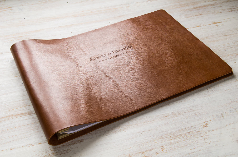 2.5mm mid brown leather album with blind debossed cover