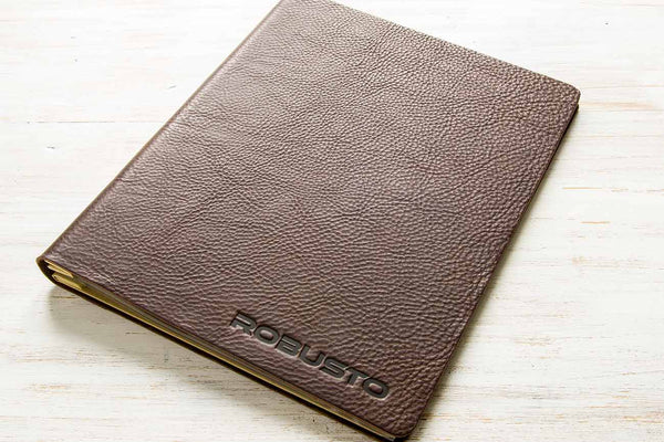 A4 leather menu cover with personalised cover
