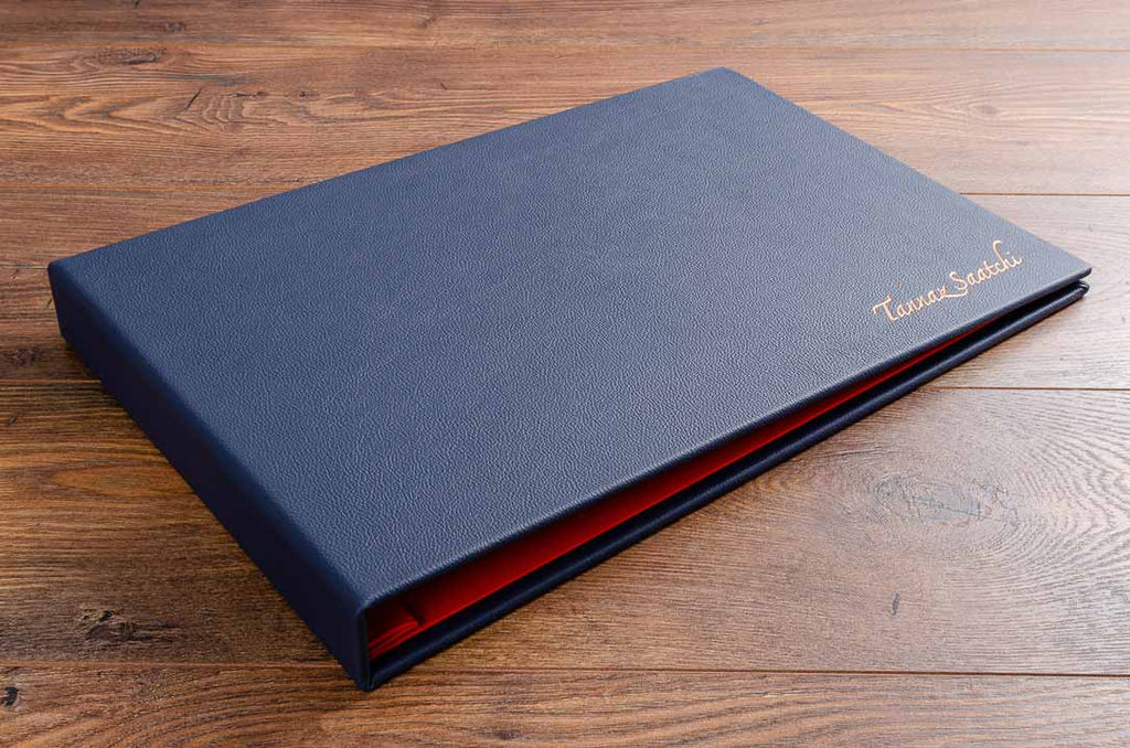 A3 leather bound personalised photography portfolio book