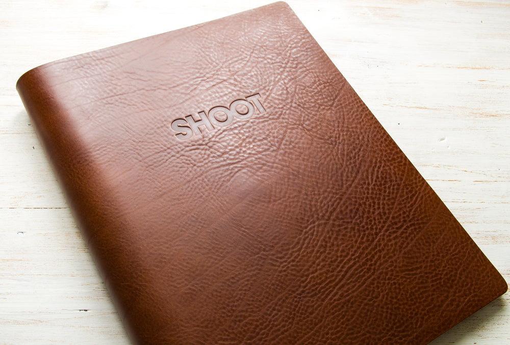 3.5mm brown leather A3 portrait photographers portfolio with blind debossed cover