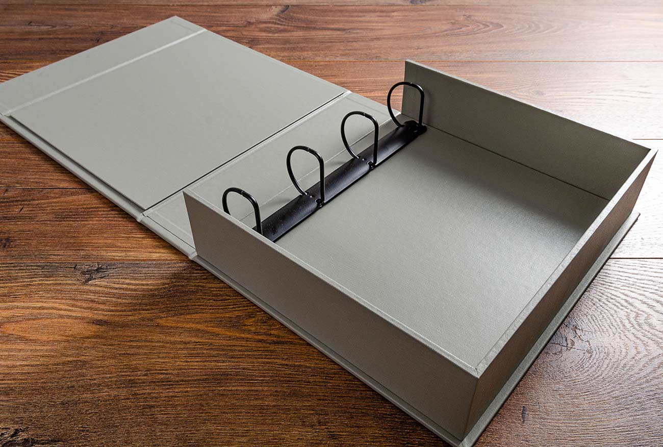 A4 Box Binder in Silver Buckram