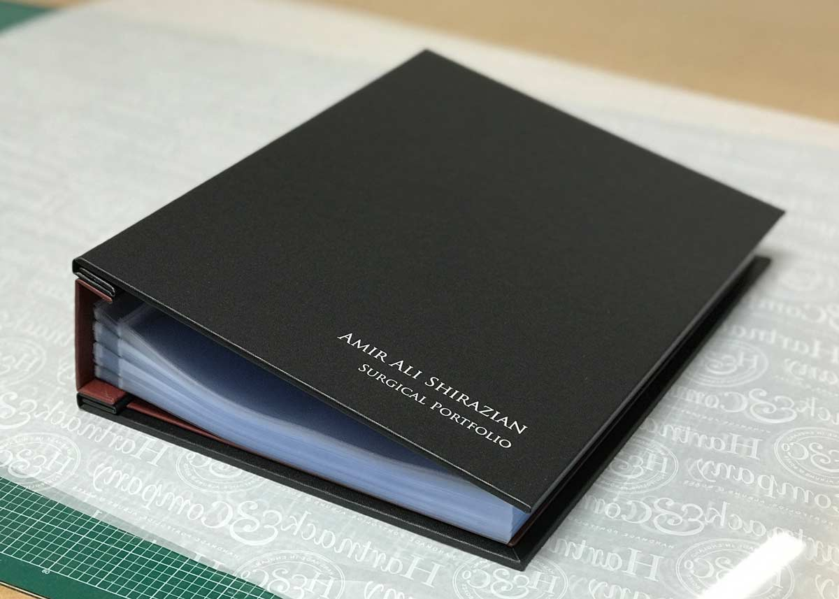 Bespoke Hidden Screw Post Surgical Portfolio in Charcoal Buckram with Silver Foil Personalisation