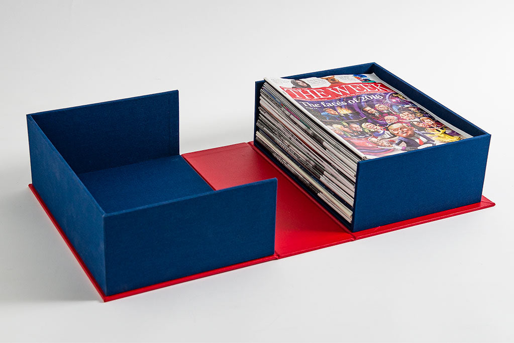 The clamshell box fits 52 issues of The Week magazine