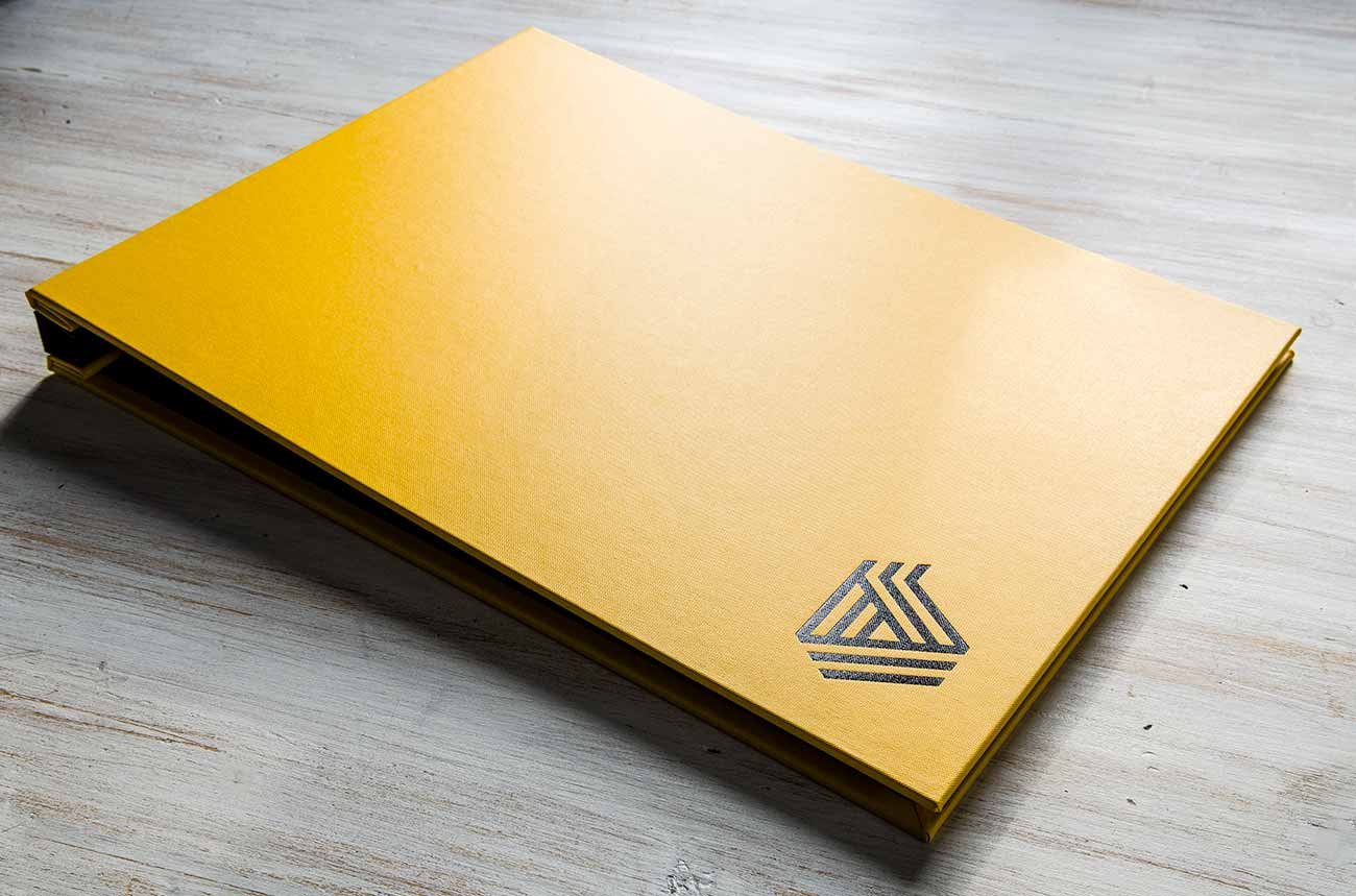 A3 Photographers Screwpost Presentation Display Portfolio Book in Yellow Buckram and Black Personalised Foil Stamping