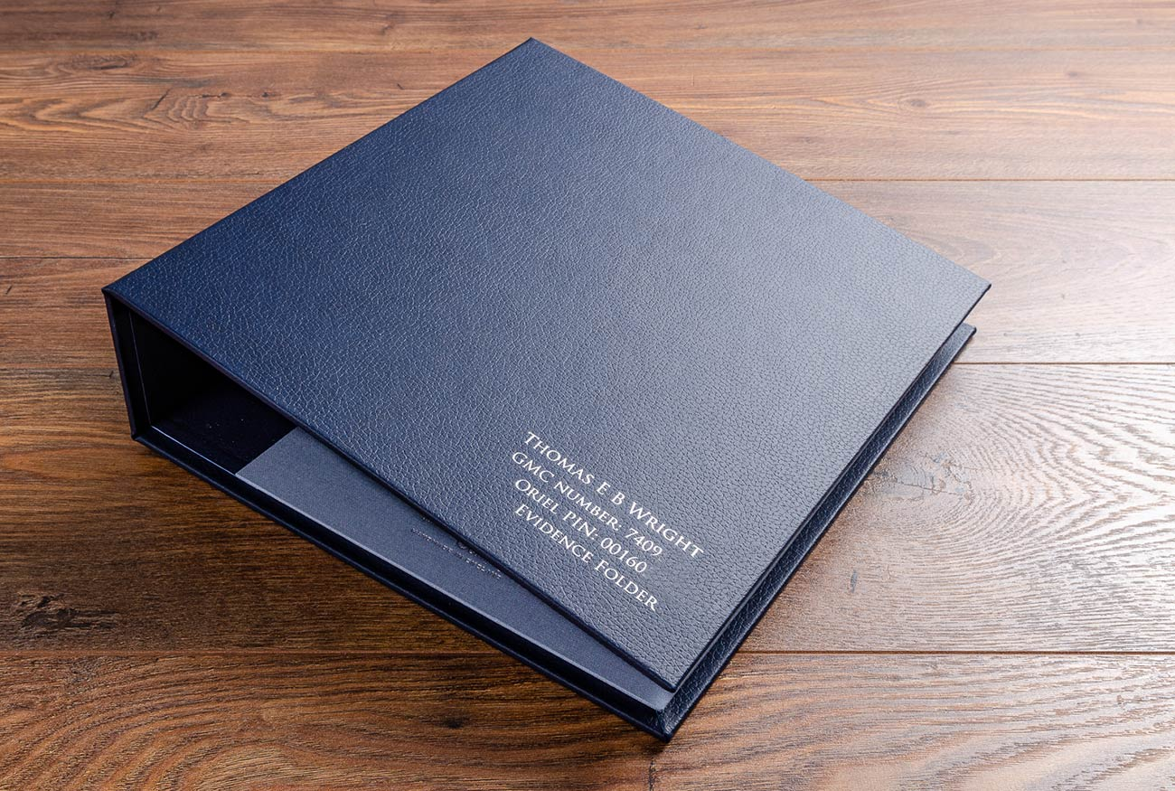 Medical evidence portfolio in midnight blue faux leather and silver foil personalisation