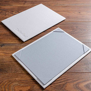 high quality white leather A4 menu boards with personalised cover and soft grey book cloth