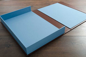 a3 portfolio box in blue book cloth and brown buckram